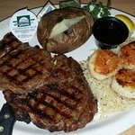 Rib Eye and Pan Fried Scallops