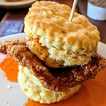 chicken with goat cheese biscuit