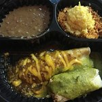 Carryout: Create A Combo - Enchilada, tamale, with rice, sweet corn tamalito & beans