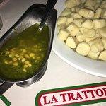 The gnocchi al pesto comes with a small bathtub of pesto sauce