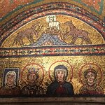 Pope Pascal's mother, Theodora, on the left with the living saint's square halo.