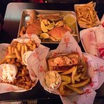 Food...crabs, lobster roll and fried combo