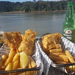 Yummy fish and chips with a great view