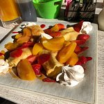 Strawberry and peach crepes!