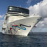 Our cruise ship in the harbor