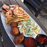 sauteed shrimp, hushpuppies, fries and slaw.. yum!