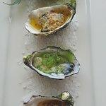 Oysters with cucumber tea granita and Kaki Mottoyaki Oyster