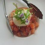Salt cured salmon baby fennel, farm picked egg confit salad