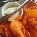 Sweet potato crisps with goats cheese and blood orange dip