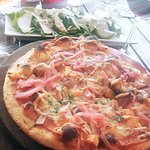 Yummy pizza and salad
