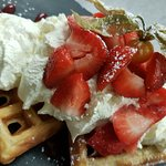 waffles with strawberry icecream