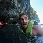 Swimming through the cave