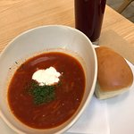 Kiev chicken and good Borscht soup