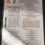Cafe Clock menu (English)