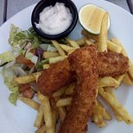 Desserts with fish n chips.