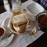 Goulash, bread and drinks.