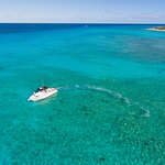 The Deep Blue Charters boat in the Columbus Landfall National Park, Grand Turk