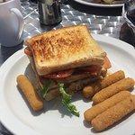 Club sandwich and mozzarella sticks