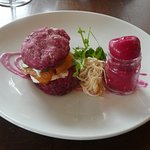 smoked salmon with beetroot and pickles