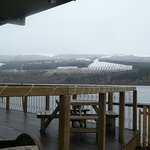 deck area with snow capped hills