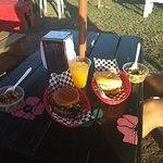 Mahi burgers and sides - they have fresh-squeezed juices too.