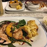 Lemon chicken with bubble amd squeak and very tasty veg.