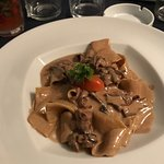 Pappardelle pasta with Procini mushrooms and Italian bacon