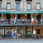Fiddler's crab house balcony dining gives the guests a superb view of shipping on the Savannah R