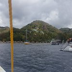 Anse Chestanat and Jade Mountain from the boat.