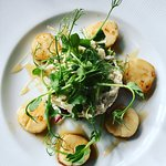 Seared Scallops with Crab & Apple Salad & Cider Reduction