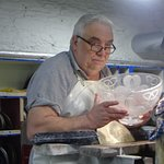 master craftman making limited edition shamrock bowl