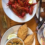 2 piece platter (18.95): deviled crab and crawfish with a side of fried okra