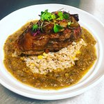Veal Osso Buco with farro risotto and roasted corn