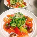 organic tomato salad with mojito vinaigrette