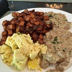 Eggs, home fries, and biscuits and gravy