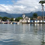 View of Paraty from a boat on Paraty Bay