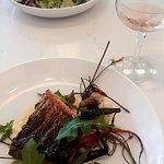 Swordfish with parsnip mash beautifully presented.