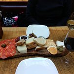 Charcuterie and Cheese Platter with an Argentinian Red and Italian White.