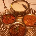 Achari Goat Curry, Goan Fish Curry, Chicken Lababdar and Basmati Rice.