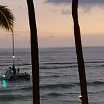 Boats Off Waikiki Beach after Sunset