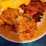 teriyaki steak and eggs with fried rice - the steak was tender and flavorful