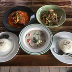 Tom Kha Gai, Red Curry with Fish & Grilled Pork Salad