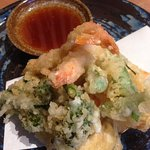 vegetables and prawn tempura