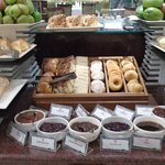 Plenty of choices of bread and pastries plus jams, honey, marmalade and more