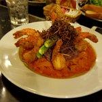 coconut shrimp over purple potato puree with grilled asparagus. Shrimp was tasty as was potatoes