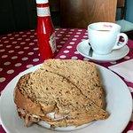 Bacon and egg doorstop on granary bread - delicious