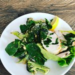 Chicken with broccoli salad - tahini dressing with flaked almonds.