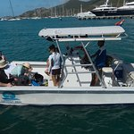 Garfield, a 27 foot powered catamaran, renovated Dec 2017. Preparing to go snorkeling.