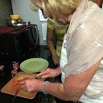 my friend Rhona hard at it in Sonals kitchen