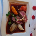 Beeffilet in Red wine Sauce, Vegetables and Cauliflower cream